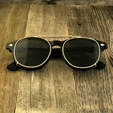 Oversized Retro Unique Spring Coil Crossbar Clip On Lens Steampunk Sunglasses - NikkiEyewear.com - 4