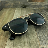 Oversized Retro Unique Spring Coil Crossbar Clip On Lens Steampunk Sunglasses - NikkiEyewear.com - 5