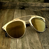 Retro Throwback Horned Rim Men Women Sunglasses with Flat Metal Frame - NikkiEyewear.com - 1
