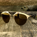 Retro Throwback Horned Rim Men Women Sunglasses with Flat Metal Frame - NikkiEyewear.com - 7