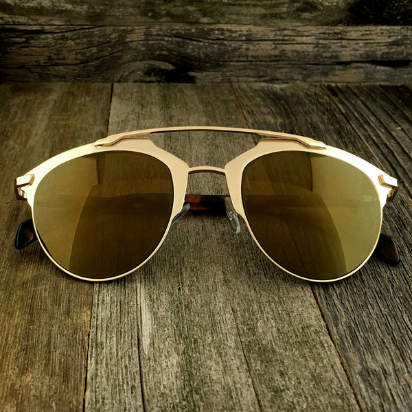 Retro Throwback Horned Rim Men Women Sunglasses with Flat Metal Frame - NikkiEyewear.com - 2