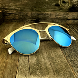 Retro Throwback Horned Rim Men Women Sunglasses with Flat Metal Frame - NikkiEyewear.com - 11
