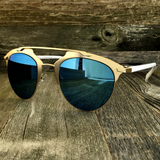 Retro Throwback Horned Rim Men Women Sunglasses with Flat Metal Frame - NikkiEyewear.com - 5