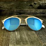 Retro Throwback Horned Rim Men Women Sunglasses with Flat Metal Frame - NikkiEyewear.com - 12