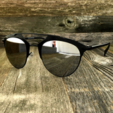 Retro Throwback Horned Rim Men Women Sunglasses with Flat Metal Frame - NikkiEyewear.com - 8