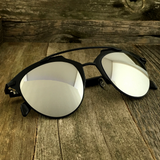 Retro Throwback Horned Rim Men Women Sunglasses with Flat Metal Frame - NikkiEyewear.com - 13