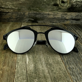 Retro Throwback Horned Rim Men Women Sunglasses with Flat Metal Frame - NikkiEyewear.com - 14