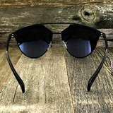 Retro Throwback Horned Rim Men Women Sunglasses with Flat Metal Frame - NikkiEyewear.com - 15
