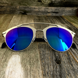 Retro Throwback Horned Rim Men Women Sunglasses with Flat Metal Frame - NikkiEyewear.com - 16