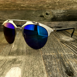 Retro Throwback Horned Rim Men Women Sunglasses with Flat Metal Frame - NikkiEyewear.com - 6