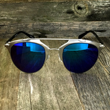 Retro Throwback Horned Rim Men Women Sunglasses with Flat Metal Frame - NikkiEyewear.com - 17