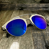 Retro Throwback Horned Rim Men Women Sunglasses with Flat Metal Frame - NikkiEyewear.com - 18