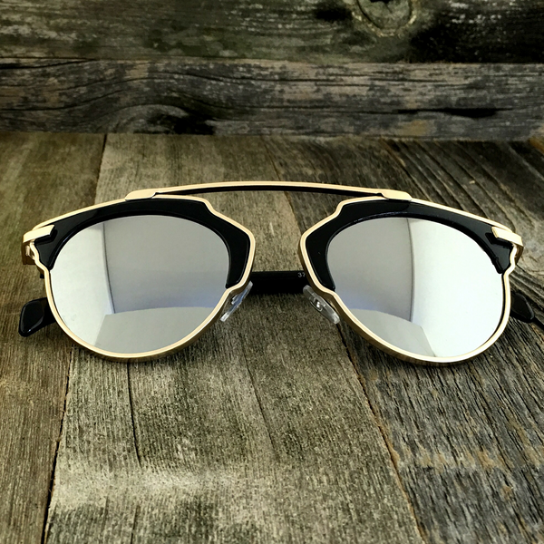 Throwback Horned Rim Sunglasses with Modern Patterns Surrounding The Top Frame - NikkiEyewear.com - 3