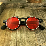 Steampunk Retro Circle Round Flip-Up Vintage Sunglasses with Tinted Color Lenses - NikkiEyewear.com - 5