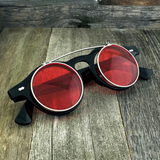 Steampunk Retro Circle Round Flip-Up Vintage Sunglasses with Tinted Color Lenses - NikkiEyewear.com - 6