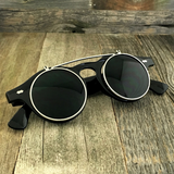 Steampunk Retro Circle Round Flip-Up Vintage Sunglasses with Tinted Color Lenses - NikkiEyewear.com - 12