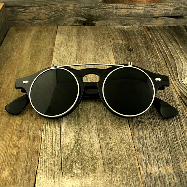 Steampunk Retro Circle Round Flip-Up Vintage Sunglasses with Tinted Color Lenses - NikkiEyewear.com - 4
