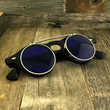 Steampunk Retro Circle Round Flip-Up Vintage Sunglasses with Tinted Color Lenses - NikkiEyewear.com - 9