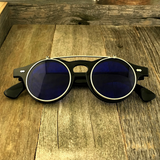 Steampunk Retro Circle Round Flip-Up Vintage Sunglasses with Tinted Color Lenses - NikkiEyewear.com - 3