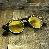 Steampunk Retro Circle Round Flip-Up Vintage Sunglasses with Tinted Color Lenses - NikkiEyewear.com - 8