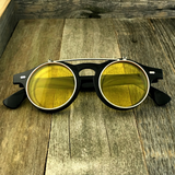 Steampunk Retro Circle Round Flip-Up Vintage Sunglasses with Tinted Color Lenses - NikkiEyewear.com - 7