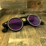 Steampunk Retro Circle Round Flip-Up Vintage Sunglasses with Tinted Color Lenses - NikkiEyewear.com - 10