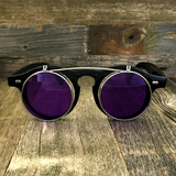 Steampunk Retro Circle Round Flip-Up Vintage Sunglasses with Tinted Color Lenses - NikkiEyewear.com - 13