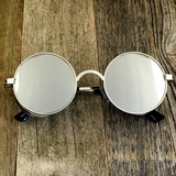 Vintage Gothic Steampunk Embossed Side Shields Sunglasses with Intricate Details Silver Mirror Lens - NikkiEyewear.com - 2