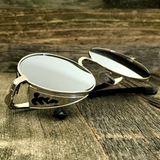 Vintage Gothic Steampunk Embossed Side Shields Sunglasses with Intricate Details Silver Mirror Lens - NikkiEyewear.com - 1