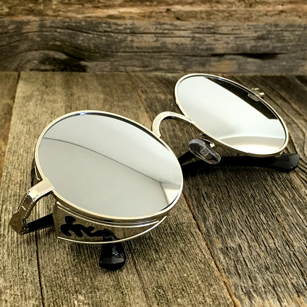 Vintage Gothic Steampunk Embossed Side Shields Sunglasses with Intricate Details Silver Mirror Lens - NikkiEyewear.com - 3