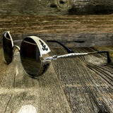 Vintage Gothic Steampunk Embossed Side Shields Sunglasses with Intricate Details Silver Mirror Lens - NikkiEyewear.com - 5