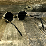 Gothic Steampunk Embossed Side Shields Intricate Details with Gold Frame Sunglasses - NikkiEyewear.com - 3