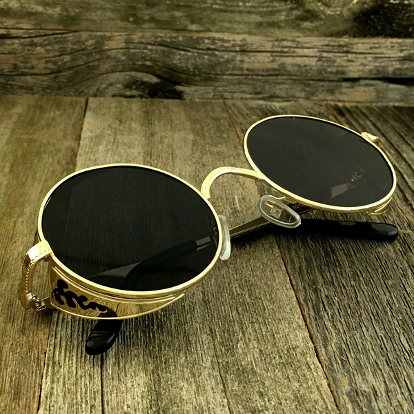 Gothic Steampunk Embossed Side Shields Intricate Details with Gold Frame Sunglasses - NikkiEyewear.com - 1