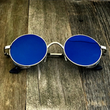 Gothic Steampunk Embossed Side Shields Intricate Details with Mirror Blue Lens Sunglasses - NikkiEyewear.com - 4