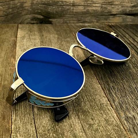 Gothic Steampunk Embossed Side Shields Intricate Details with Mirror Blue Lens Sunglasses - NikkiEyewear.com - 1