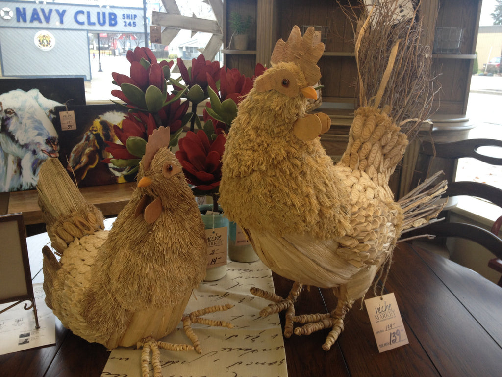 Twig and Reed Rooster and Hen Set - Niche Market Furniture