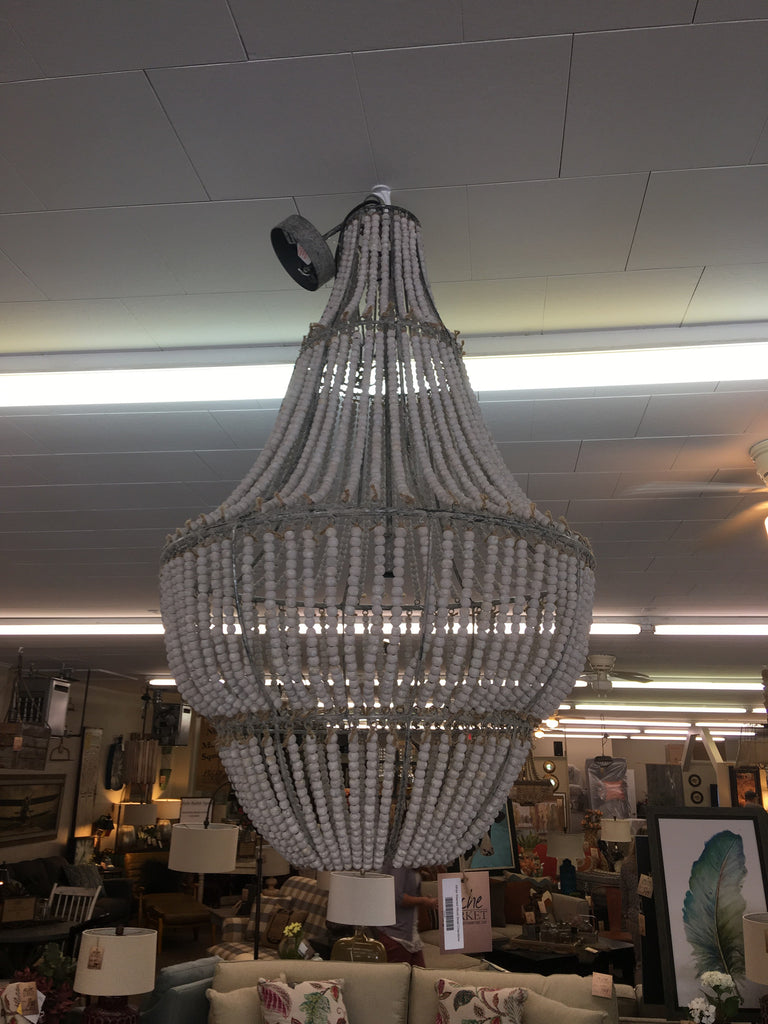 White Washed Wood Bead Chandelier - Niche Market Furniture