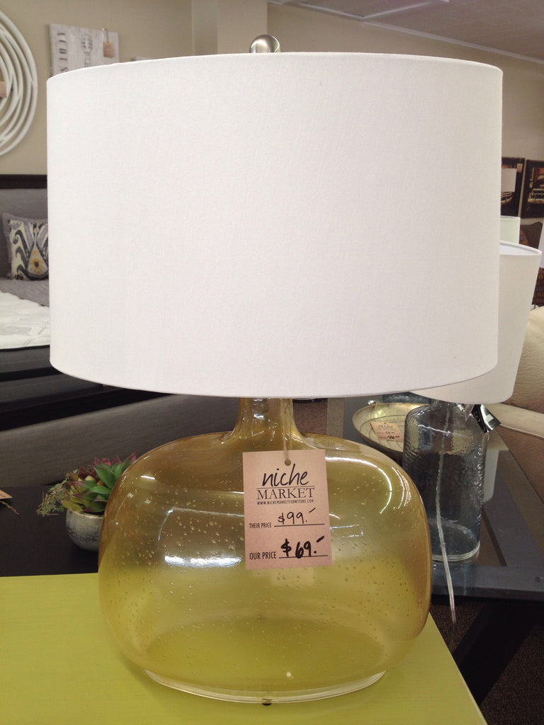 Amber Seeded Glass Table Lamp French Wiring Oval Natural Linen