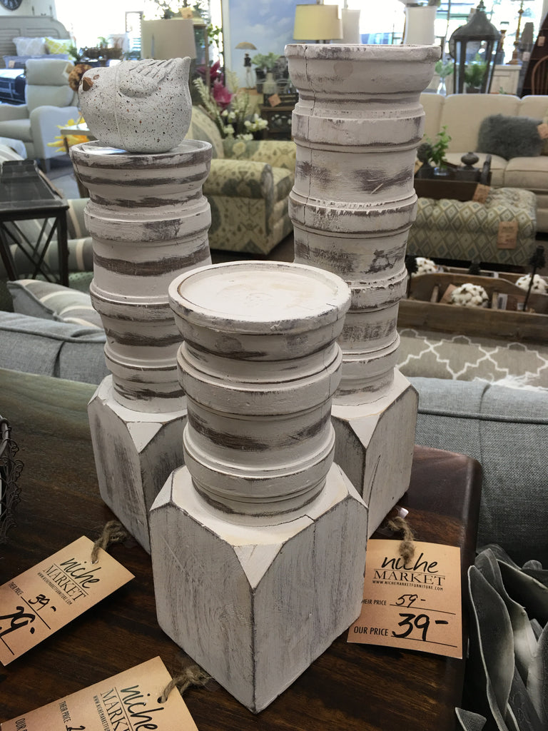 Medium Chunky White Distressed Candlestick