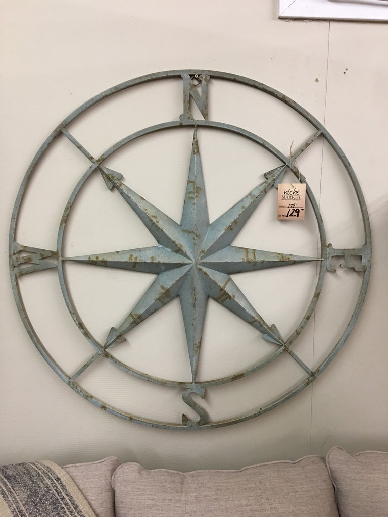 Round Metal Compass Wall Decor