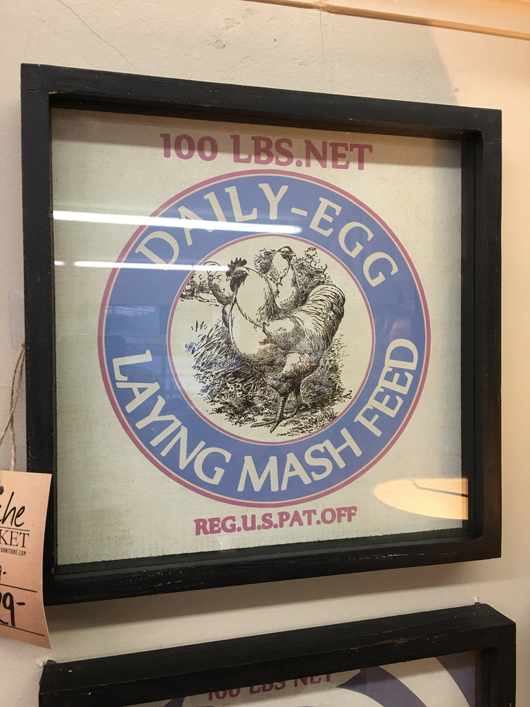 Framed Feedsack Daily Egg Laying Print