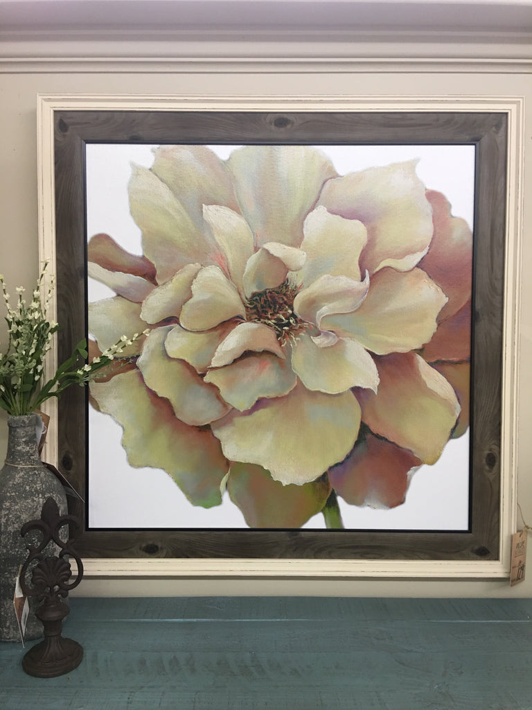 White Flower Textured Framed Print