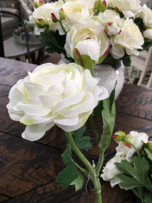 White Peony Spray Stem
