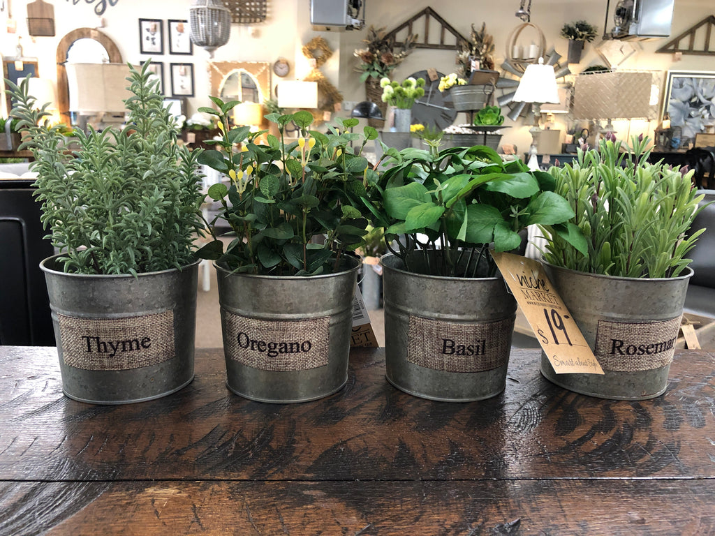 Assorted Herb in Metal Pot