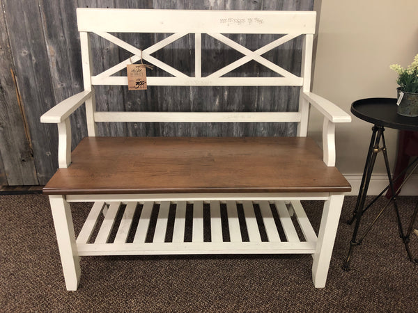 double X-Back Ivory Hazelnut Bench