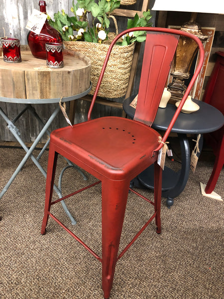 Vintage Red Bow Back Metal Counter Stool