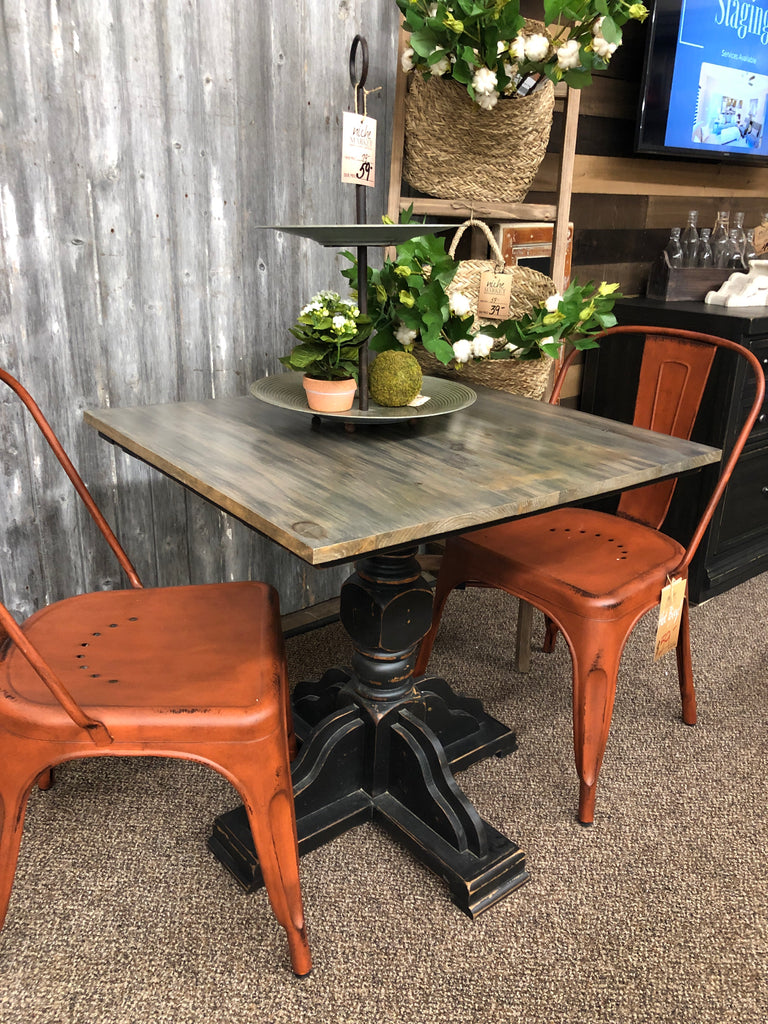 Distressed Black Cafe Table