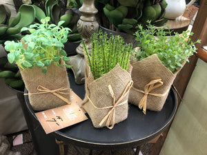 Burlap Wrapped Artificial Potted Assorted Herbs