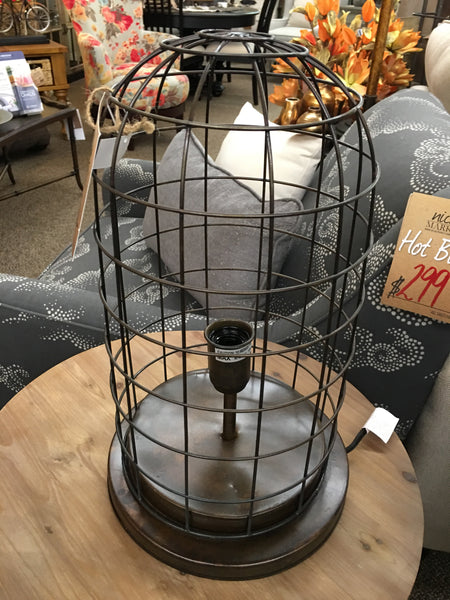 Aged Brass Finish Wire Cage Desk Lamp