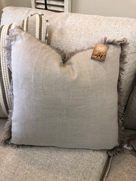 Stonewashed Fringed Down Pillow